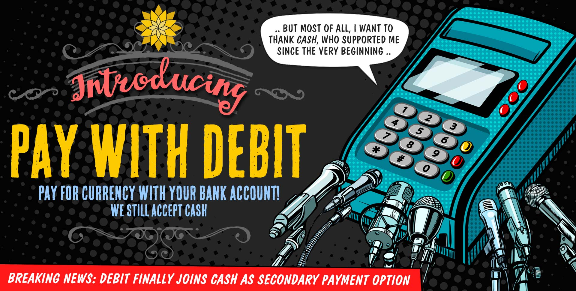 Pay-With-Debit, exchange currency using your bank account